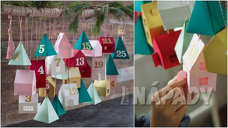 Veselé adventní kalendáře: papírové domky