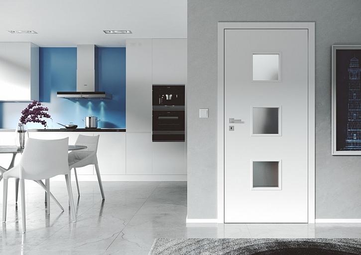 Prosklené dveře DOMINO 63, v provedení barva bílá EKO, akční cena je 4 444 Kč bez DPH (bez kování a zárubně).