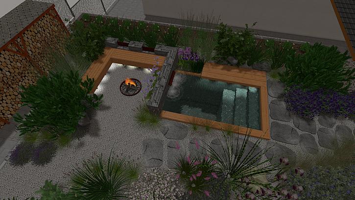 Vizualizace zahrady s ohništěm