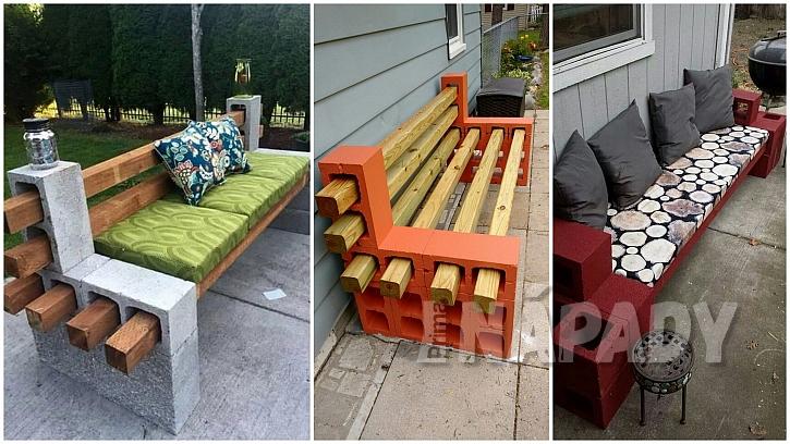 Betonové tvárnice: lavička jako skládačka