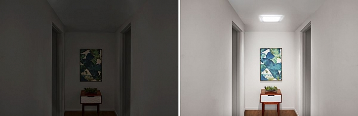 světlovod před a po