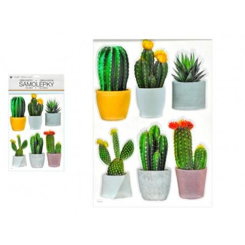 Anděl samolepící dekorace 10481 plastická 3D kaktusy 29 x 49 cm