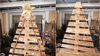 Vánoční stromeček z palety ozdobí zahradu i pergolu
