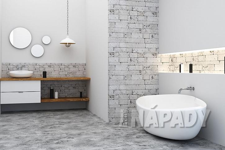 Tři asymetricky umístěná kulatá zrcadla v moderní koupelně