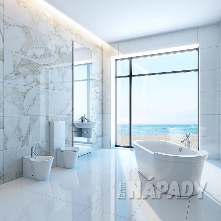 Moderní minimalistická koupelna se samostatně stojící vanou