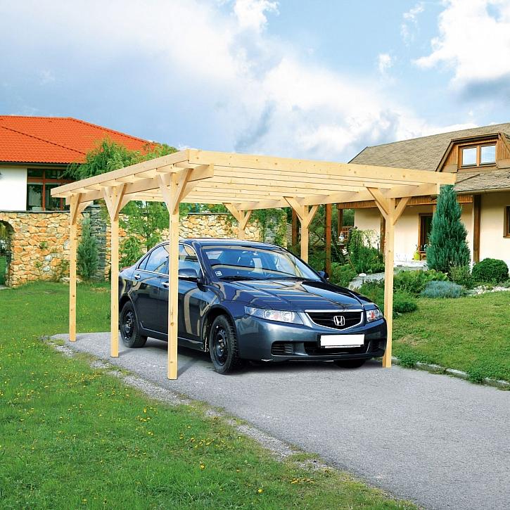 Dřevěný přístřešek pro auto aneb ochrana pro váš vůz nejen před nepřízní počasí (Zdroj: Hornbach)