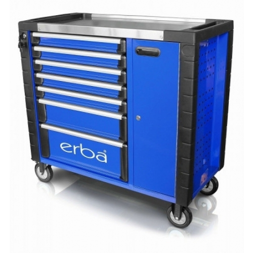 Dílenský vozík 7 uzamykatelných zásuvek a skříňka, bez nářadí