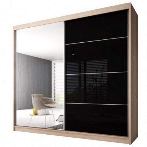 Skříň s posuvnými dveřmi, dub sonoma / černý lesk, 183x218, MULTI 31, Tempo Kondela