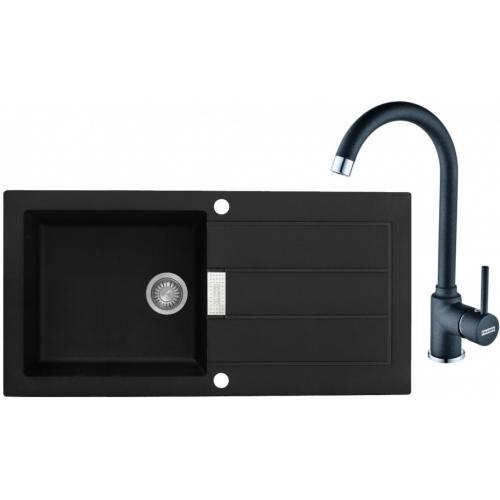 FRANKE SET T27 tectonitový dřez SID 611 černý + baterie FP 9900 černá