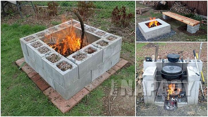 Betonové tvárnice: bezpečná ohniště