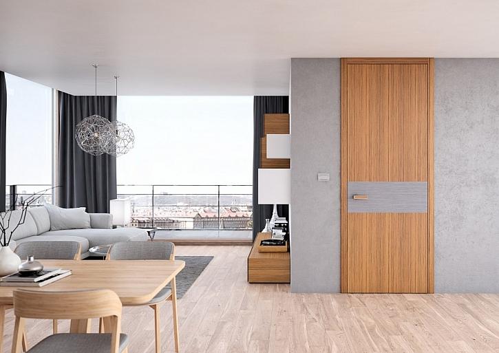 Interiérové dveře SAPELI, model TENGA - dýha v dekoru bílého teaku v kombinaci s dubem stříbrným. Cena: 10.341 Kč.