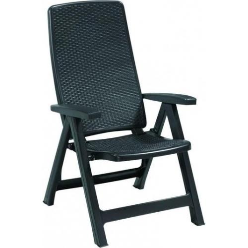 ALLIBERT MONTREAL zahradní židle polohovací, 63 x 67 x 111 cm, grafit