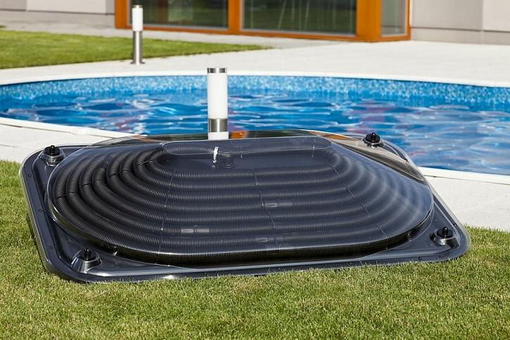Solární ohřev Pyramida se hodí pro menší bazény. Případně lze zapojit několik kusů za sebe a zvýšit tak účinnost