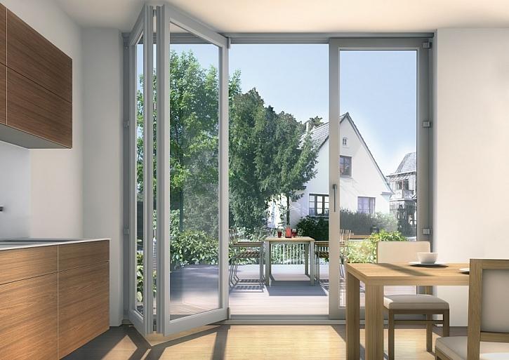 Posuvně-skládací dveře s plastovými profily Inoutic Prestige nazývané také harmoniky. Jejich předností je výhled nerušený žádným pevným křídlem či sloupkem. Dveře je možné zafixovat v jakékoli poloze.