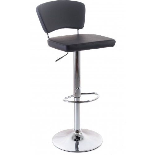 G21 Barová židle Redana koženková s opěradlem, černá