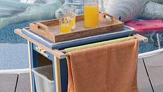 Multifunkční stolek k bazénu dokáže vyřešit hned tři základní funkce najednou