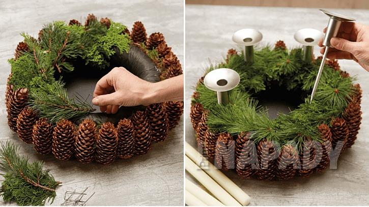 Přírodní adventní věnec: věnec ozdobte větvičkami a přidejte držáky na svíčky