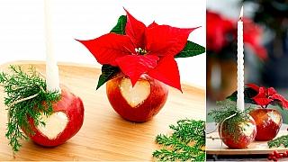 Červená jablíčka jako svícen aváza: Vánoční dekorace snadno arychle