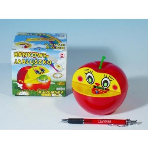 Pokladnička jablko plast 16x10cm 2 barvy v krabičce