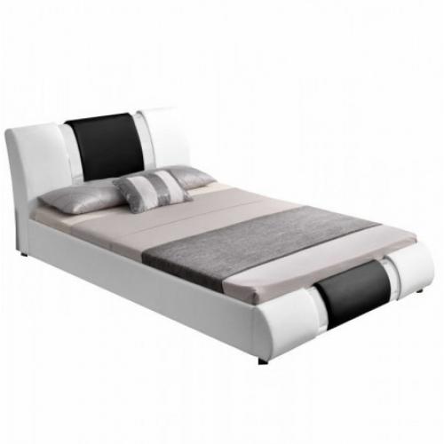 Moderní postel, bílá / černá, 160x200, LUXOR, Tempo Kondela