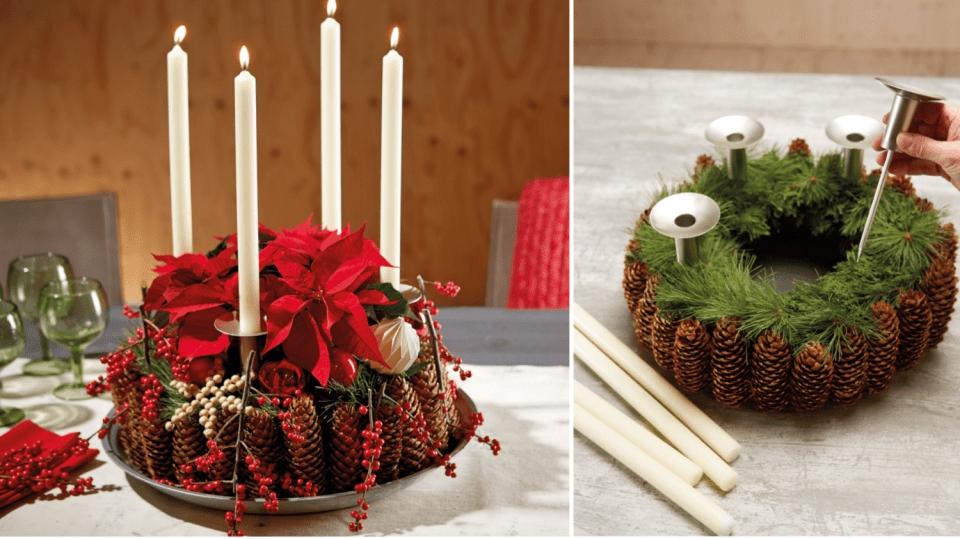 Přírodní vánoční dekorace: adventní věnec vrustikálně romantickém stylu