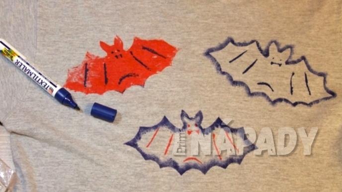 Tričko s netopýry: drobné detaily dokreslíme fixou na textil