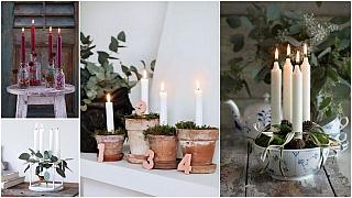 Adventní svíčky vkvětináčích, všuplíku ive formě na bábovku: Adventní věnce jinak