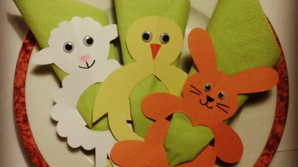 Zvířátka z papíru: Ovečka, zajíček a kuřátko rozveselí jarní stolování