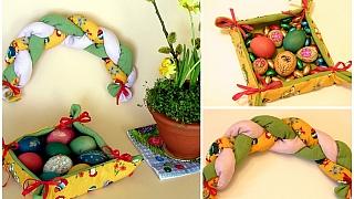 Látkové dekorace na Velikonoce: miska na kraslice acop na sváteční stůl