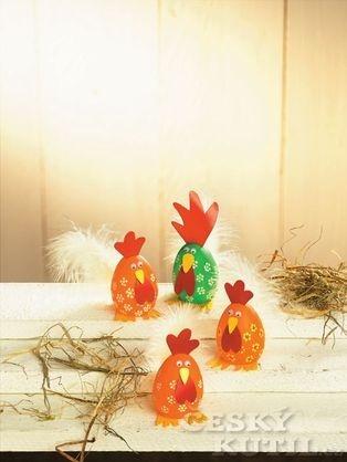 Kohoutek a slepička - výroba velikonoční dekorace