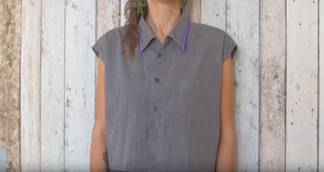 Letní dámská halenka ze staré pánské košile
