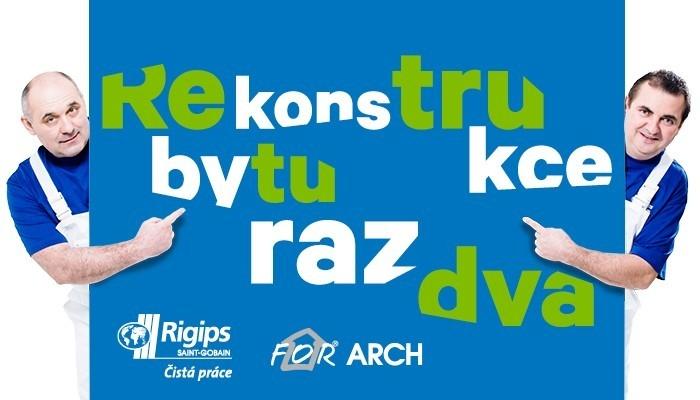 Rekonstrukce bytu raz dva u stánku společnosti Rigips na veletrhu For Arch