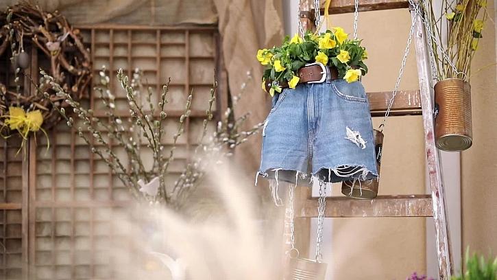 Vtipný květináč ze starých džínů