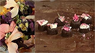 Pralinky s kandovanými květy: čokoládové bonbony skvětinovou ozdobou