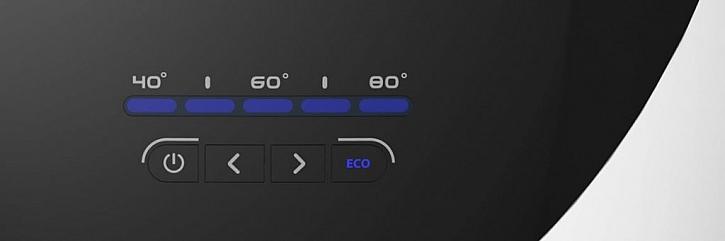 Elektronický displej je přehledný a snadno se ovládá. Ukazuje teplotu vody a signalizuje, zda výrobek pracuje v režimu ECO EVO.