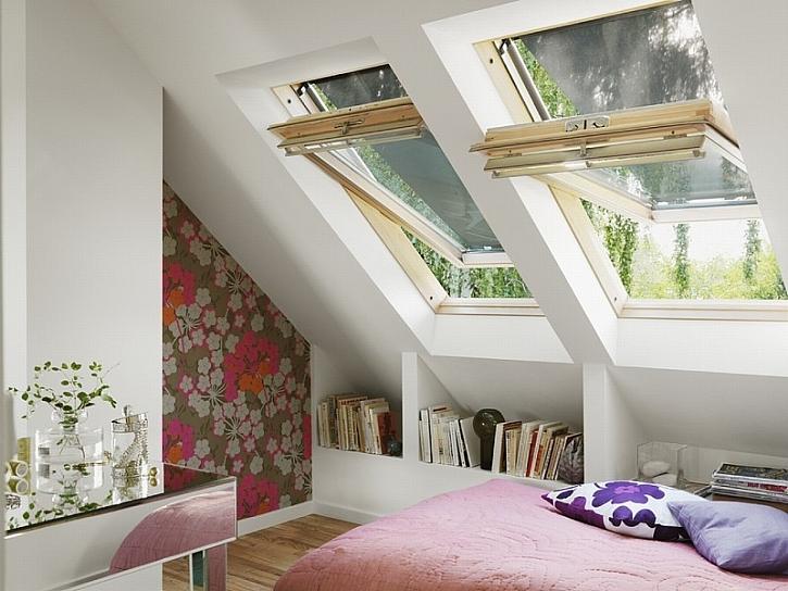 Střešní okna prosvětlí podkrovní místnost