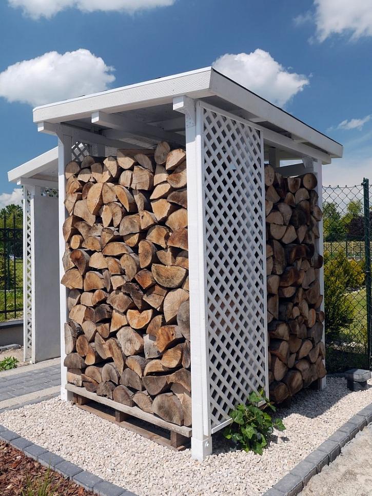 Profesionálně vyrobený přístřešek na dřevo vypadá vkusně