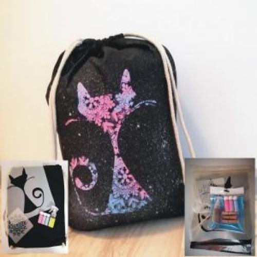 Sada na tvoření - Batůžek s kočkou /neon růžová, fialová, modrá