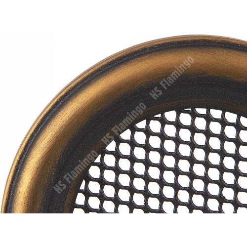 Krbová mřížka kulatá 125mm zlatá patina