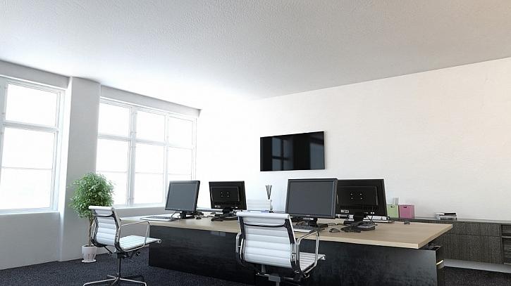 Skleněný sálavý panel ECOSUN GS v kanceláři