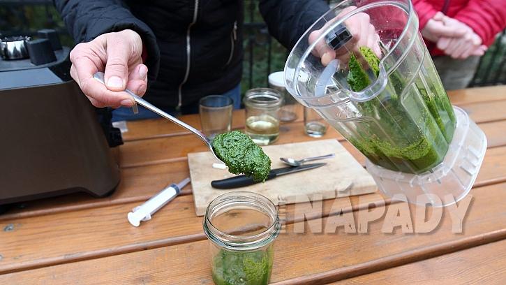 Recept na domácí pesto z česneku medvědího: hotové pesto zalijeme olejem