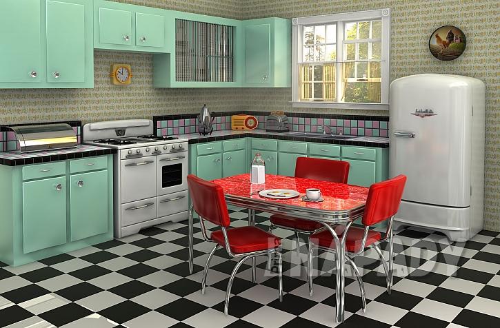 Linoleum v retro kuchyni