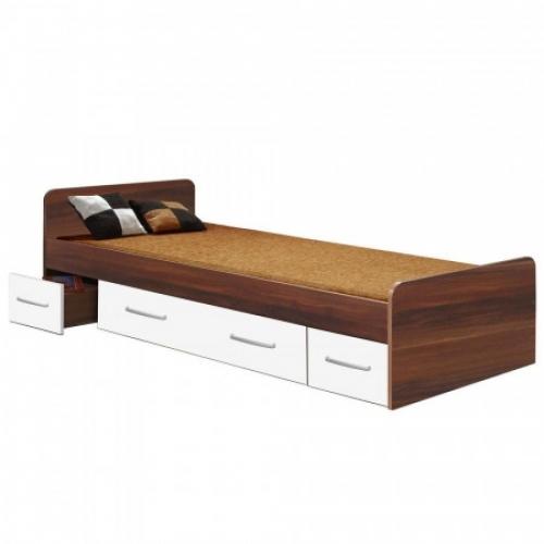 Jednolůžko se zásuvkami 60345 ořech/bílá, IDEA nábytek