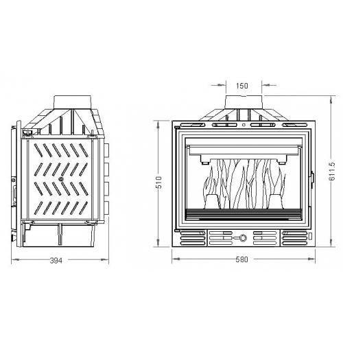 Krbová vložka UNIFLAM 600 PLUS ECO s klapkou a externím přívodem vzduchu 907-597-DP