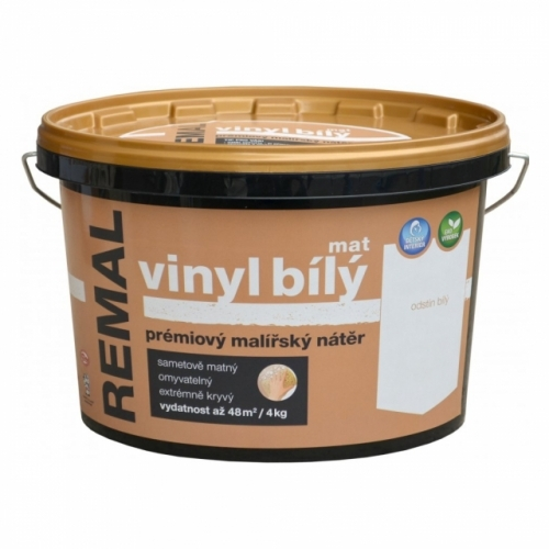 Remal Vinyl mat prémiová malířská barva, omyvatelná, bílá, 4 kg