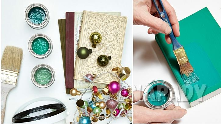 Vánoční stromeček pro knihomily: knížky pečlivě natřete barvou