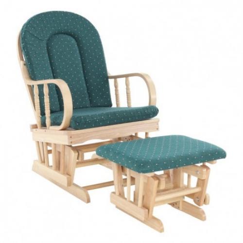 Houpací křeslo, dřevo látka buk zelené, RELAX GLIDER 87107, Tempo Kondela