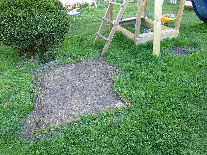 Po přesunu pískoviště je třeba holé místo v trávníku dosít