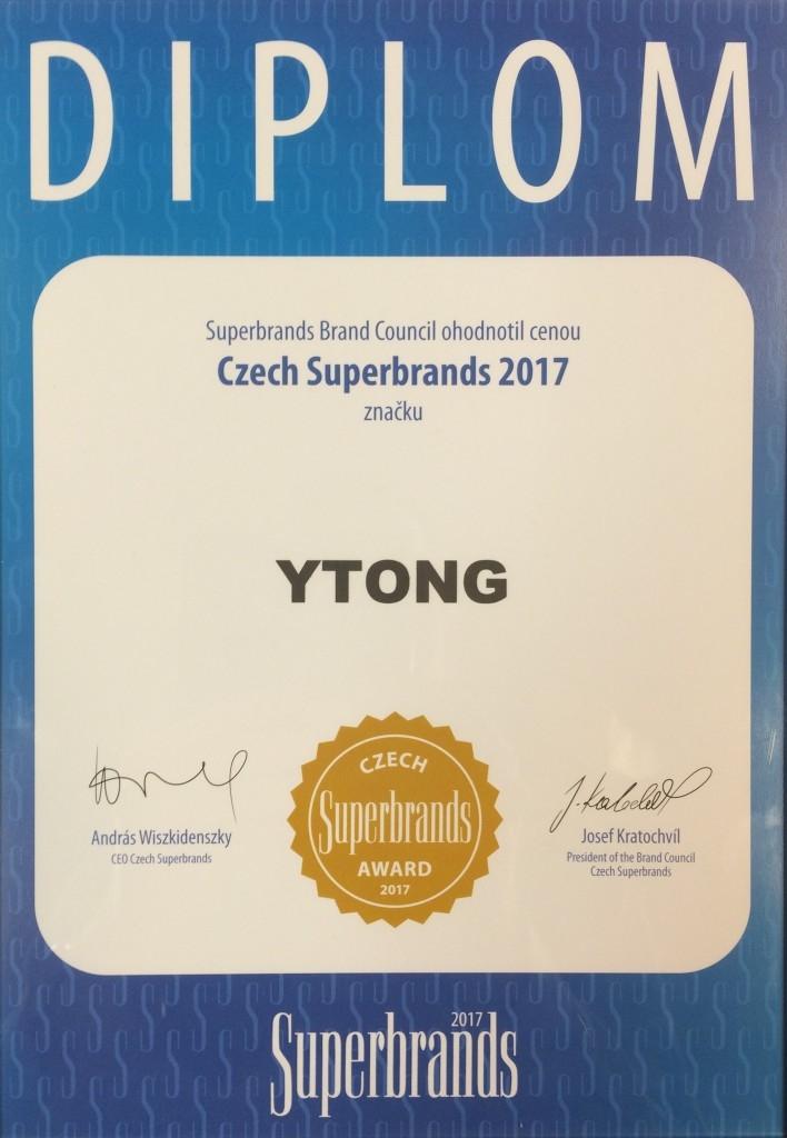 YTONG získal titul programu Superbrands 2017