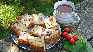Recept na koláč s třešněmi nebo višněmi zvaný Žabí plesk